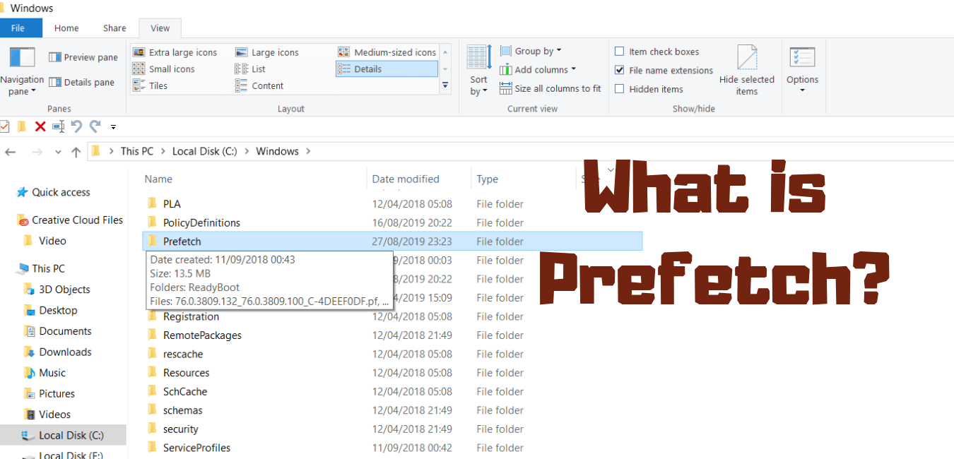 image of windows prefetch in windows 10, prefetching