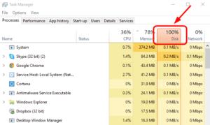 Windows 10 100% disk usage in Task Manager
