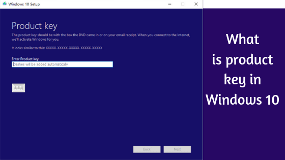 screenshot of windows asking for product key