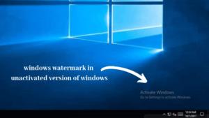 windows watermark in unactivated version of windows