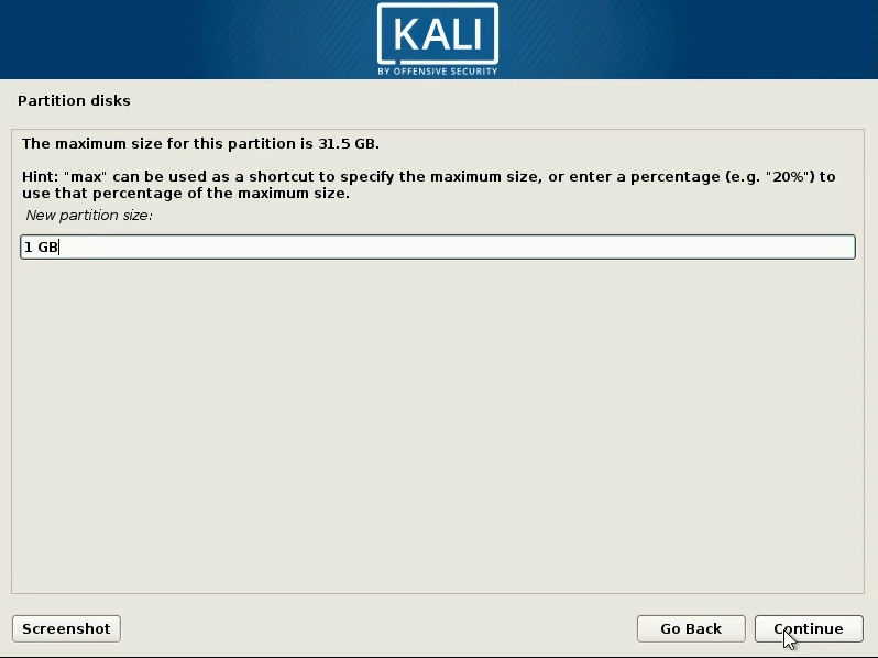 How to dual boot windows 10 and kali linux-select -1 gb