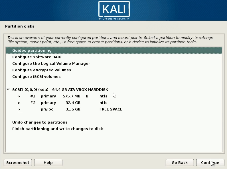 How to Dual Boot windows 10 and kali linux select free space