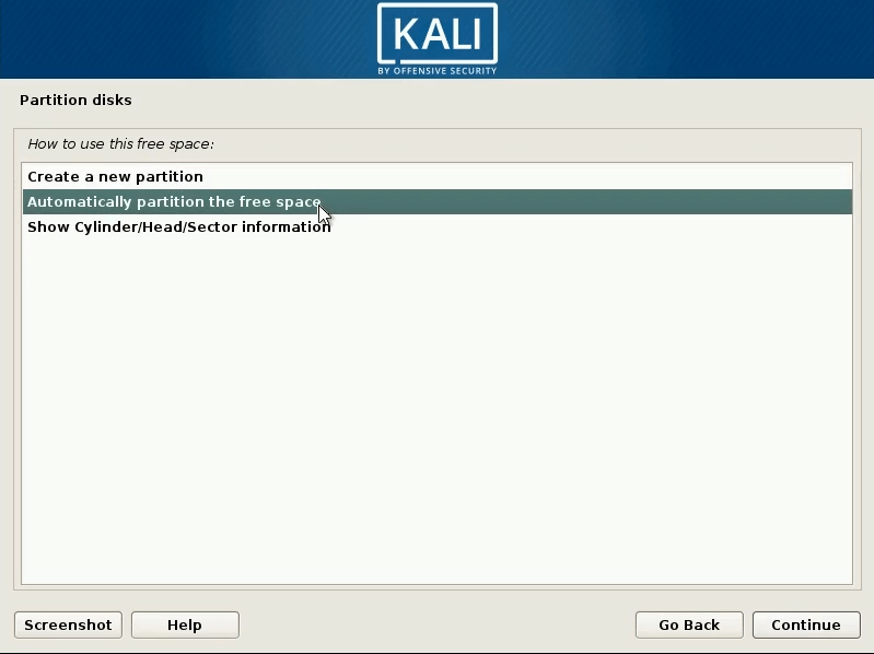How to dual boot windows 10 and kali linux automaticaly partiton the free spcae