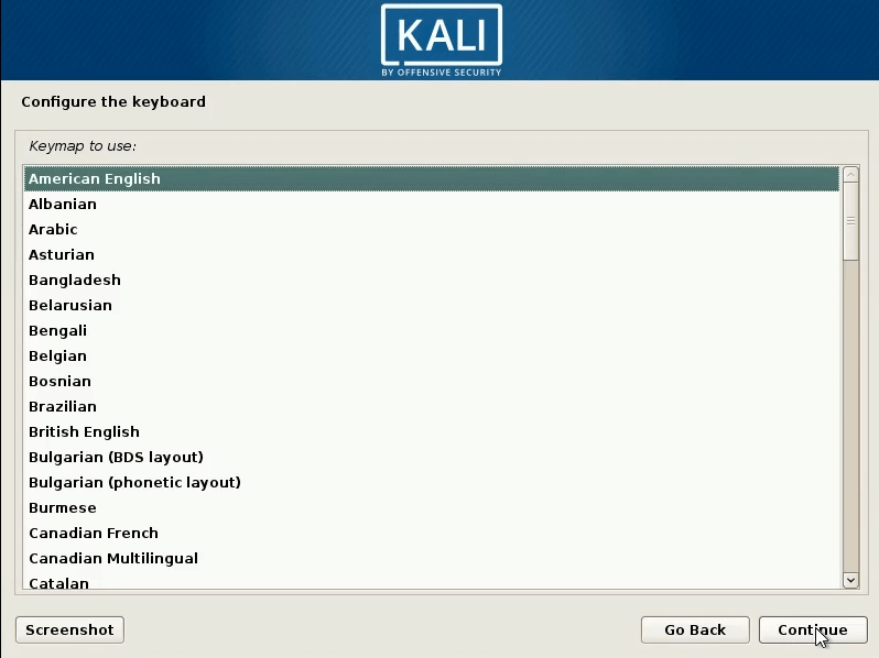 How to dual boot windows 10 and kali linux-keyboard select