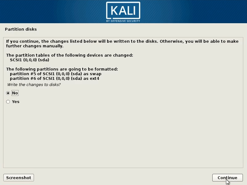 How to dual boot windows 10 and kali linux select yes and continue