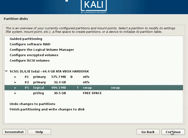 How to dual boot windows 10 and kali linux slect swap partion