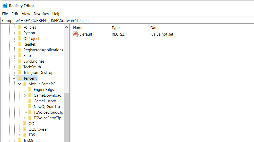 open windows registry editor from cmd hkey current user software tencent