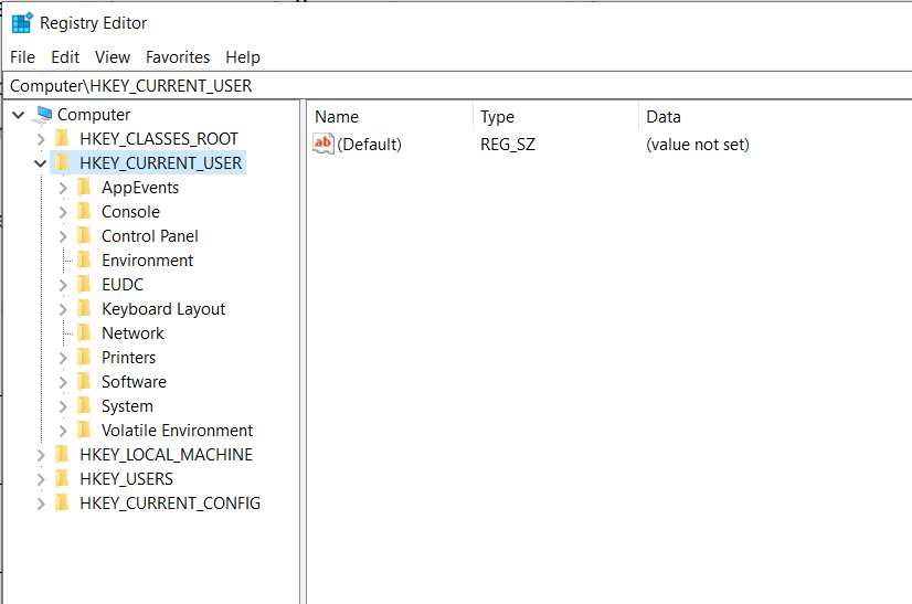 open windows registry editor from cmd hkey current user