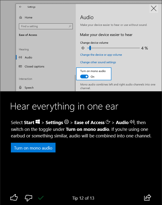 how to personalize windows 10 enable mono audio