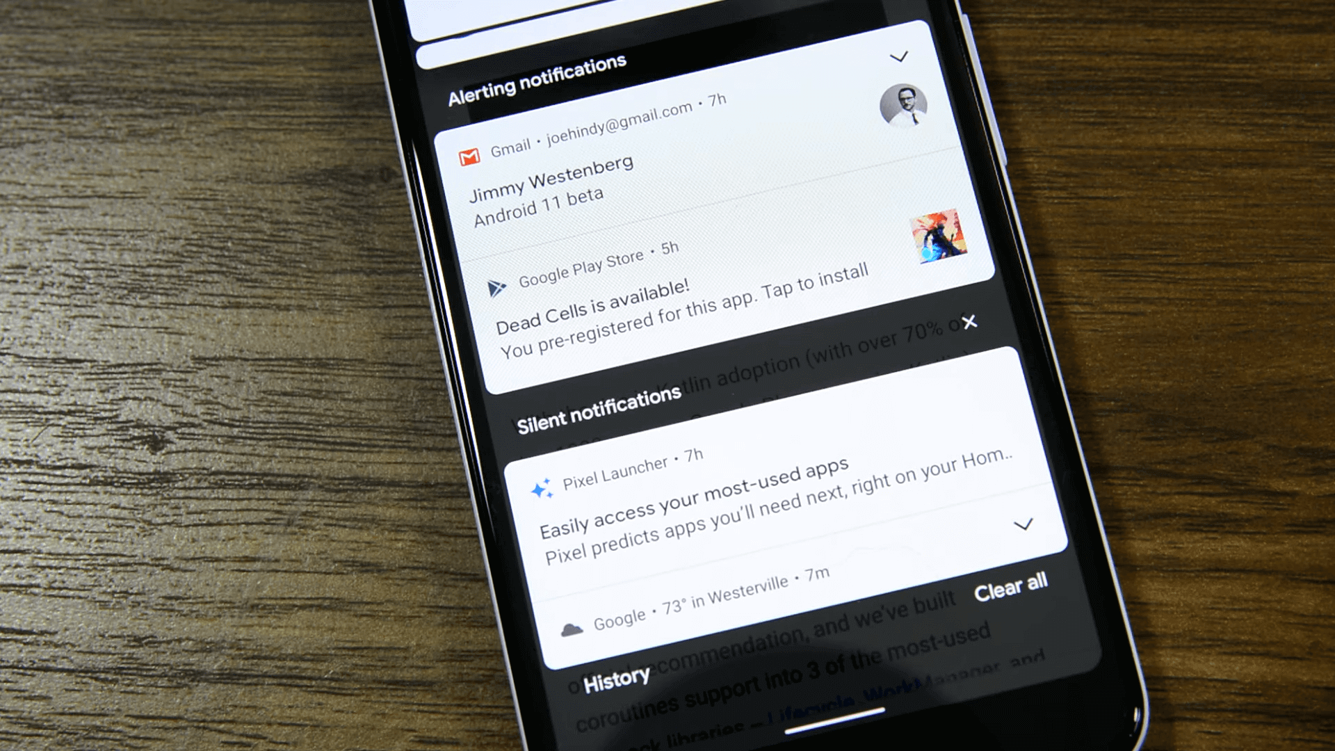 Android 11s features organised notification