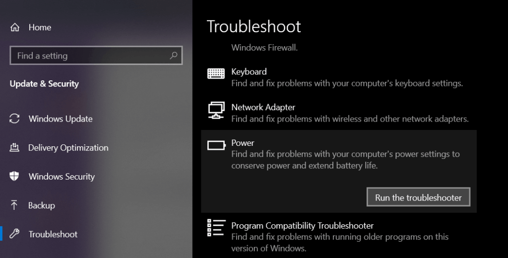fix plugged in not charging Windows 10 in non-removable battery by runing the power trroubleshooter