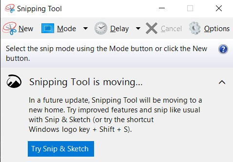 snipping tool in windows 10