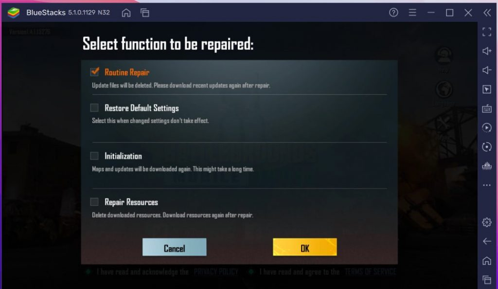 Now, select Routine repair from the list of available functions in bgmi